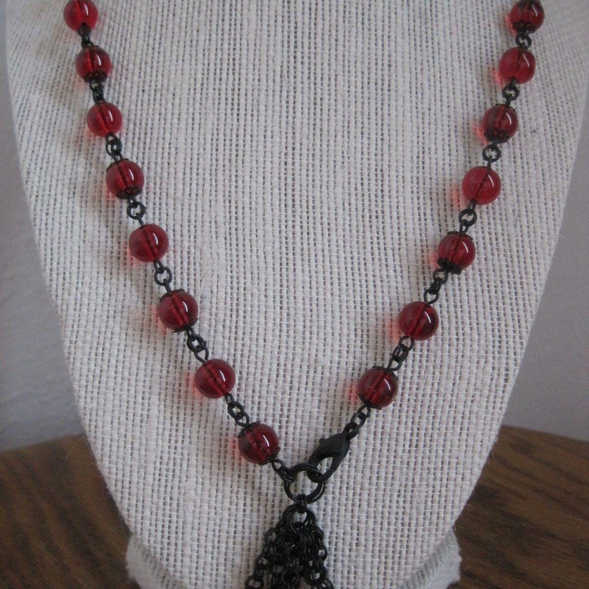 Red Glass Round and Black Dangle Necklace