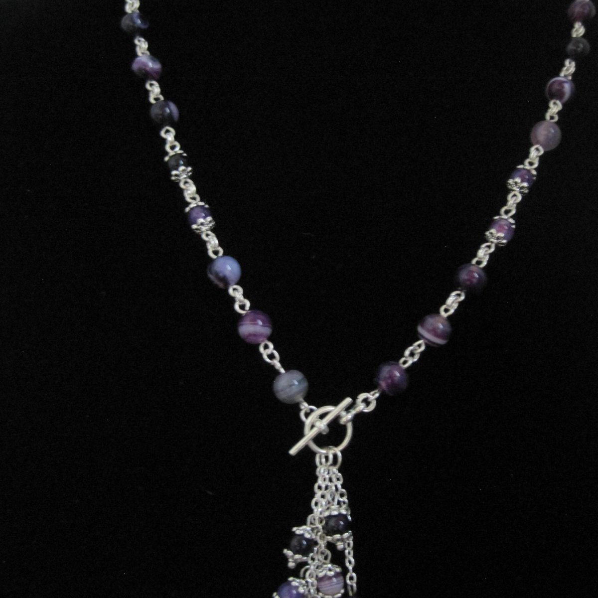 Purple and Silver Dangle Necklace