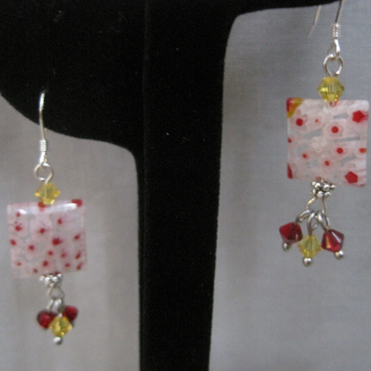 Pink, Red and Clear, Square Glass, Dangle with Red and Yellow Swarovski Crystals