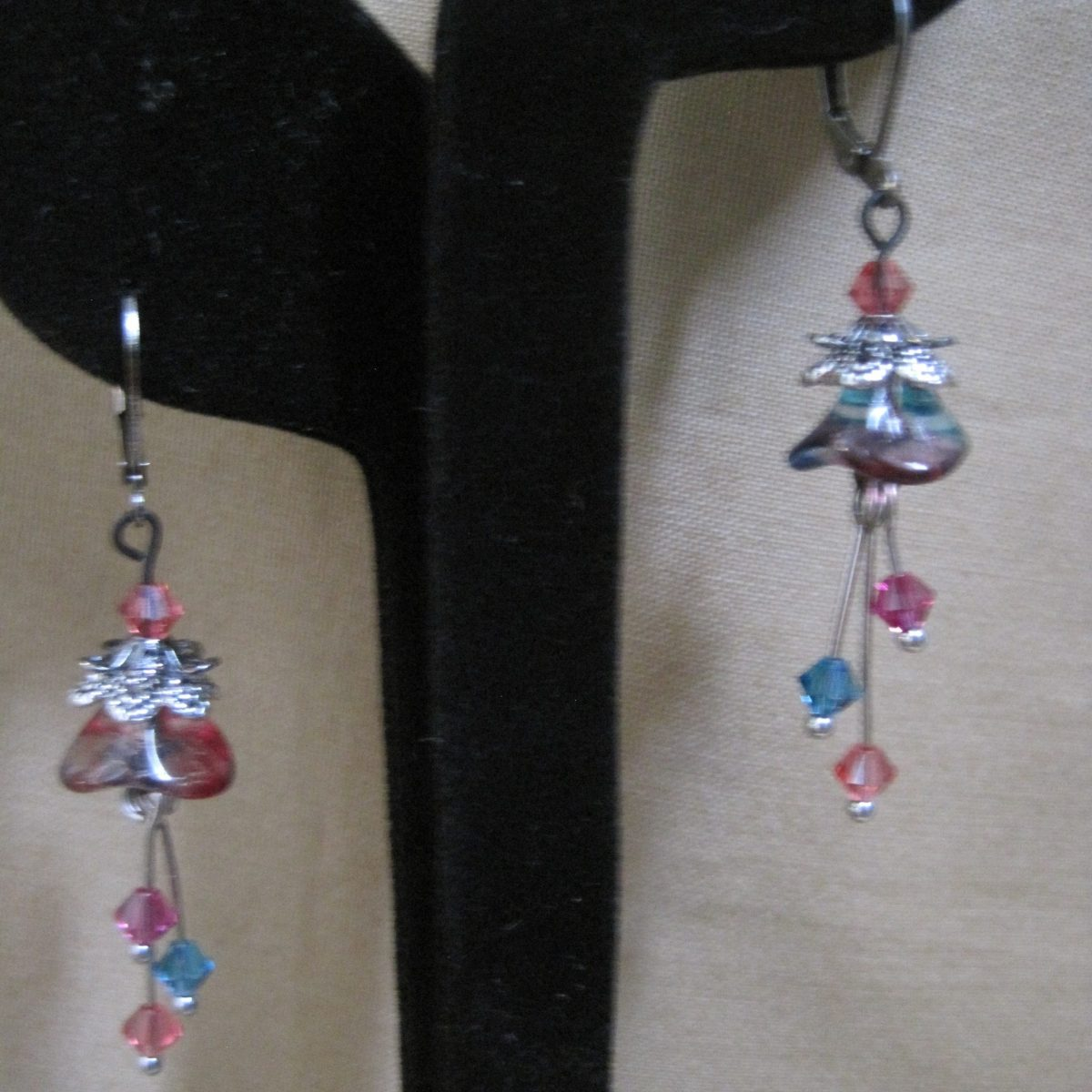Whimsical Tulip Earrings- Raspberry/Turquoise Glass Tulip, Raspberry and Turquiose Swarovski Crystals, Bronze Hook Clasp