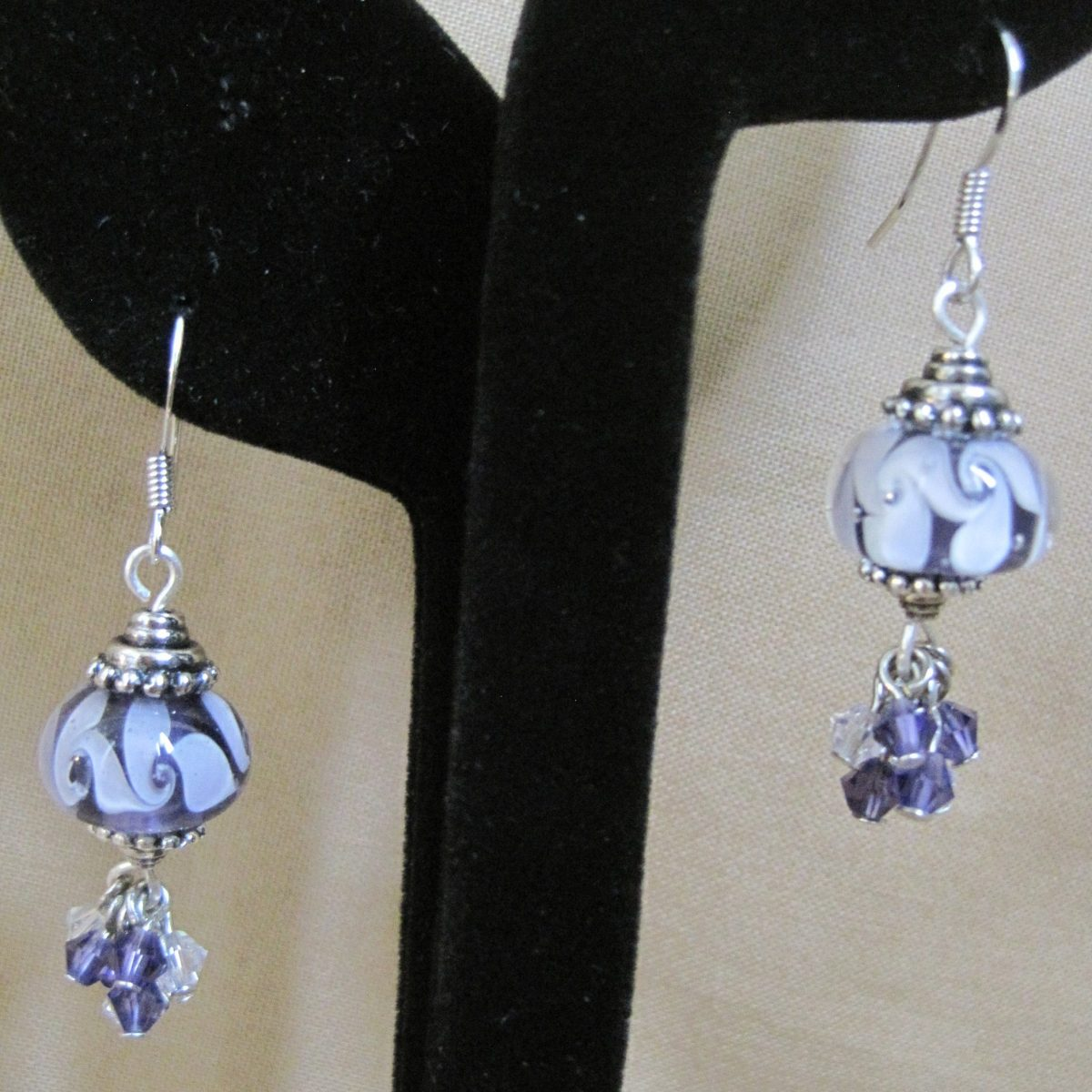 Purple and White Swirl Glass with Purple and Clear Swarovski Dangles
