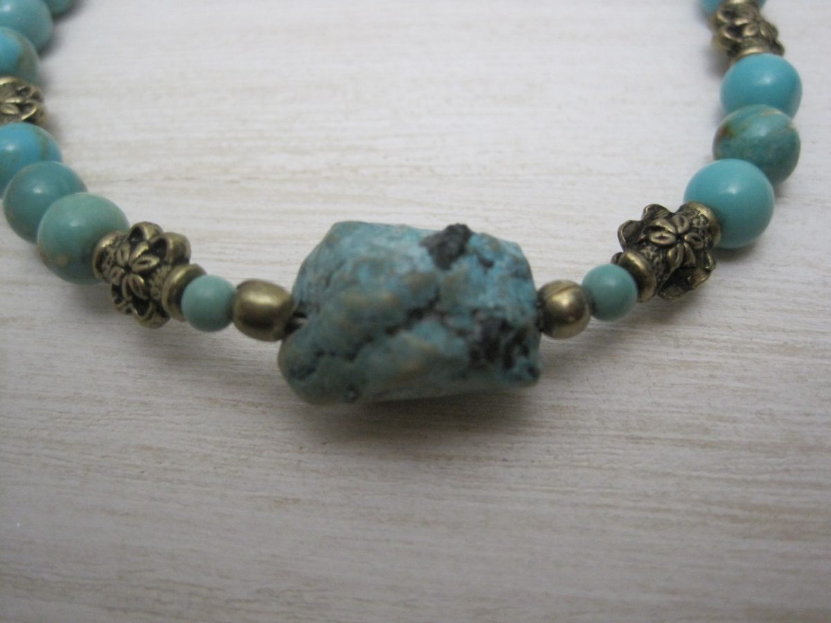 Flower Turquoise Brass Bead Bracelet//Necklace