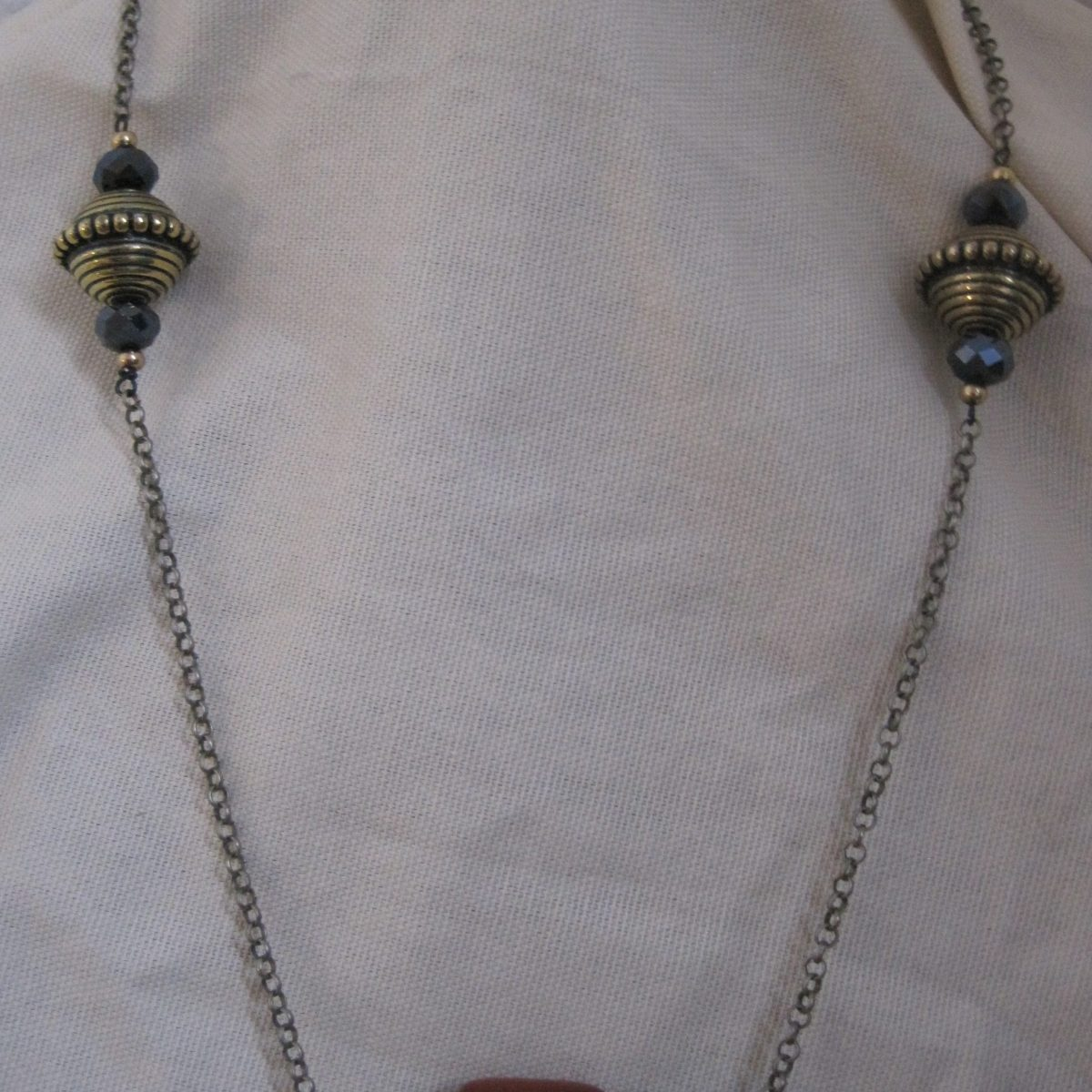Natural Amber Gun Metal Chain Black Necklace/ SN1-019