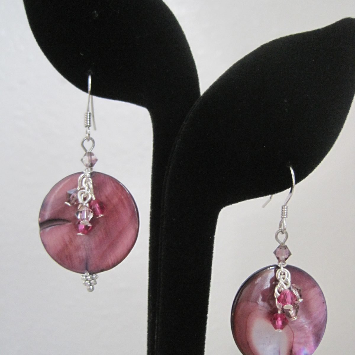 Purple Mother of Pearl Coin with Raspberry Pink and Purple Swarovski Crystal Cluster Faced Dangle, Silver Hook