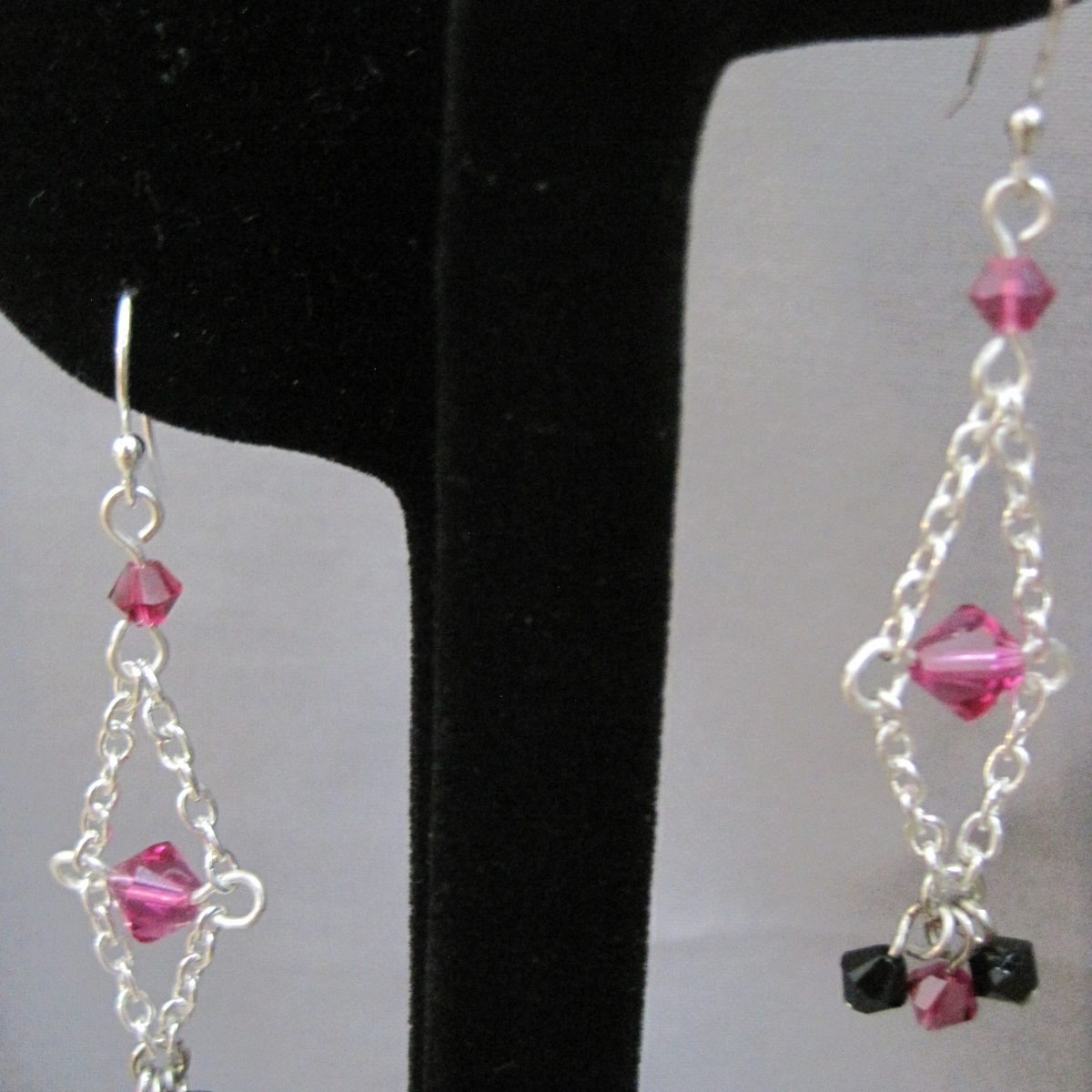 Raspberry Pink and Black Swarovski Crystals, Silver Chain Dangle Earrings